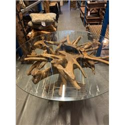 """TEAK ROOT DINING TABLE (APPROX 32"""" H) WITH BEVELED GLASS TOP (APPROX 48"""" DIAMETER)"""