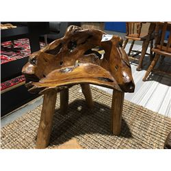 """TEAK BURL BENCH (APPROX 28"""" X 18"""" SEAT HEIGHT X TOTAL HEIGHT 30"""")"""