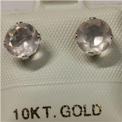 10K ROSE QUARTZ(1.6CT) EARRINGS