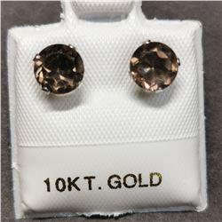 10K 2 SMOKY QUARTZ(0.8CT) EARRINGS