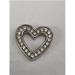 14KT WHITE GOLD & DIAMOND HEART PENDANT
