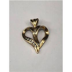 10KT YELLOW GOLD & DIAMOND HEART PENDANT