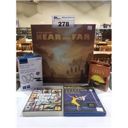 NEAR AND FAR BOARD GAME, STRUGGLE FOR CATAN CARD GAME, GRAND THEFT AUTO 5 PS3, LALA LAND BLU-RAY,
