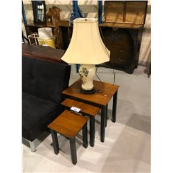 HIDE AWAY SIDE TABLES & LAMP