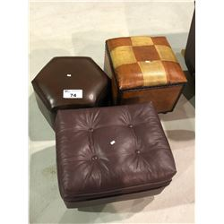 3 LEATHER OTTOMANS
