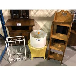 """SHELVING UNIT (47 X 14 X 9""""), SIDE WICKER TABLE, LAMP SHADE, & STAND"""