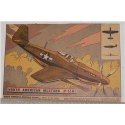 North American Mustang (P-51B) airplane antique cereal strip card- RARE image - carte céréale avion