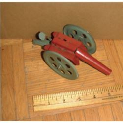 Antique near or over 100 years old tin mint WORKING toy small tin canon -MARCHE jouet ancien en tôle