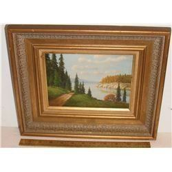 "Beautiful scene ""Path to the Lake"" by Chris - image 6 x 8 "" - ""Passe allant au lac"" belle scène"