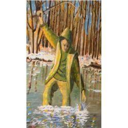 peinture par feu Robert Godin - Fishing Again an Robert Godin original painting artiste deceased