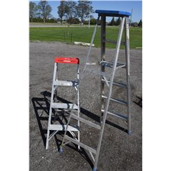 Two Aluminum Step Ladders 4' & 6'