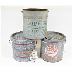 Three Vintage Minnow Buckets