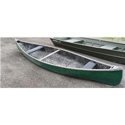 14' Green Fiberglass Canoe