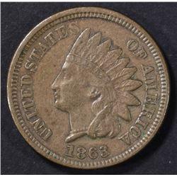 1863 INDIAN CENT XF/AU