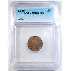 1909 INDIAN CENT ICG MS-64 BN