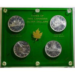 1965  CANADIAN SILVER DOLLAR TYPE SET ALL CH BU