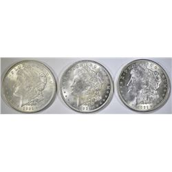 3-NICE CIRC 1921 MORGAN DOLLARS