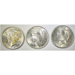 1922, 1923 & 24 AU PEACE DOLLARS