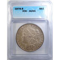 1878-S MORGAN DOLLAR ICG AU-55