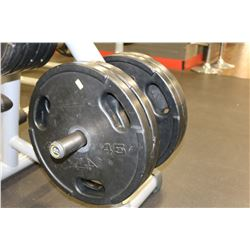 SET OF 4 45LB RUBBERIZED WEIGHT PLATES