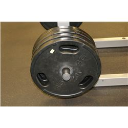 LOT OF 4 45LB RUBBERIZED WEIGHTS