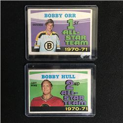 1970s BOBBY ORR/ BOBBY HULL ALL-STAR TEAM HOCKEY CARD LOT