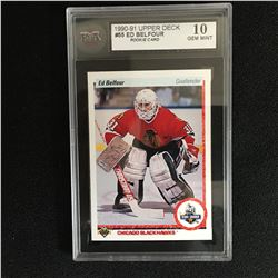 1991 UPPER DECK ED BELFOUR ROOKIE CARD KSA 10