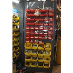 APPROX. 5' X 7' GREY CABINET C/W CONTENTS (BOLTS, AIR TOOLS, DRILL BITS, CHAIN HOOKS & SCREWS)