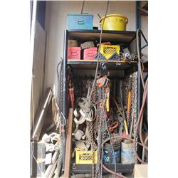 STEEL CAGE/CABINET C/W CHAINS, BOOMERS, COME ALONGS, MISC STEEL, 2 RED TOOLBOXES, STEEL IN THE CORNE