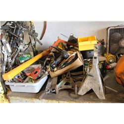 MISC ON TABLE C/W AIR TANK, WINCH, CAR STANDS, TOOLS, MAGNETS & PROPANE TORCH
