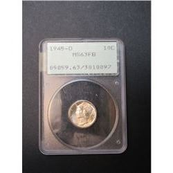 1945-D Mercury Dime- Graded MS 63 by PCGS