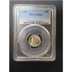 1945 Mercury Dime- Graded MS 64 by PCGS