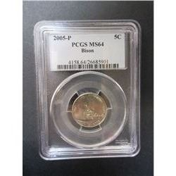 2005-P Bison Nickel- Graded MS64 by PCGS