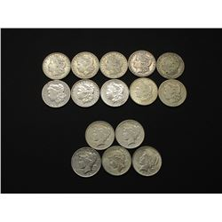 10 Morgan Silver Dollars and 5 Peace Dollars-  1884-1922