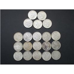15 Morgan Silver Dollars and 5 Peace Dollars- 1881- 1920