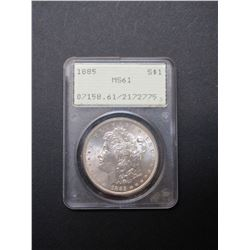 1885 Morgan Silver Dollar- Graded MS61 by PCGS