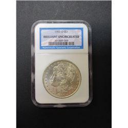 1900-O Morgan Silver Dollar- Graded Brilliant Uncirculated by NCG