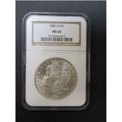 1885-O Morgan Silver Dollar- Graded MS 64 by NCG
