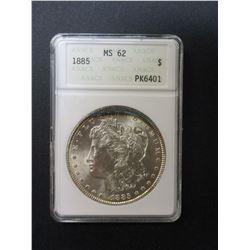 1885 Morgan Silver Dollar- Graded MS62 By ANACS