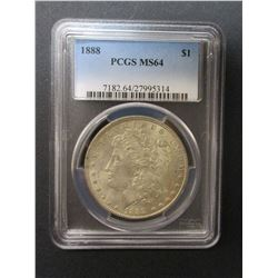 1888 Morgan Silver Dollar- Graded MS 64 by PCGS