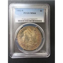 1882-S Morgan Silver Dollar- Graded MS 64 by PCGS
