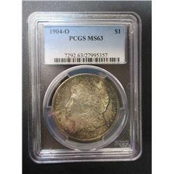 1904-O Morgan Silver Dollar- Graded MS63 by PCGS