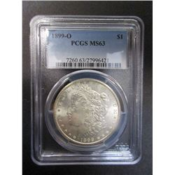 1899-O  Morgan Silver Dollar- Graded MS63 by PCGS