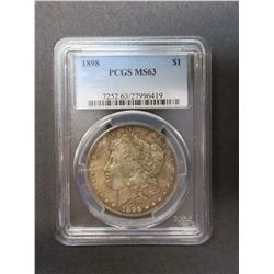 1898 Morgan Silver Dollar- Graded MS63 by PCGS