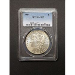 1888 Morgan Silver Dollar- Graded MS63 by PCGS