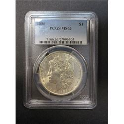 1886 Morgan Silver Dollar- Graded MS63 by PCGS