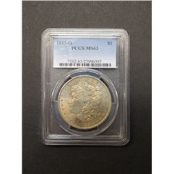 1885-D Morgan Silver Dollar- Graded MS63 By PCGS