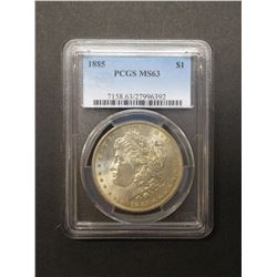 1885 Morgan Silver Dollar- Graded MS63 by PCGS