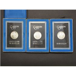 3 Uncirculated Carson City Morgan Silver Dollars- 1884- 1883- 1880