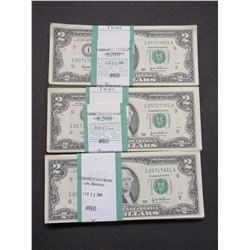 300 2 Dollar Bill- Sequential Order- I25711601A- I257171900A